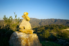 Short Stone Cairn in California Hills Royalty Free Stock Image