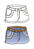 Short summer blue jeans shorts vector eps illustra. Vector eps contour and colored illustration of short summer blue jeans shorts royalty free illustration