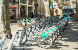 Short term bike rental in the old town of Avignon Stock Photos