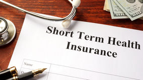 Short term health insurance policy. stock image