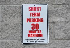 Short term parking sign Royalty Free Stock Image
