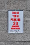 Short term parking signage Stock Image