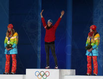 Short track Ladies' parallel slalom snowboarding medal ceremony Royalty Free Stock Photo