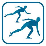 Short track speed skating. Short track speed skating emblem. Two color icon of the athlete.One of the pictogram from winter sports icons set. Vector Royalty Free Stock Image