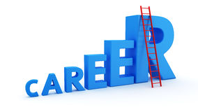 Short way to Career. The word career as a ladder and a stepladder to top Royalty Free Stock Photography