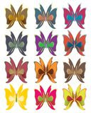 Short wing butterflies. Bright color butterflies isolated on white Stock Images