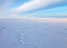 Short winter day above frozen tundra, top view Royalty Free Stock Photography