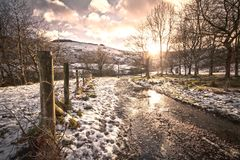 Short winter day. The last remnants of a snowy day Stock Images