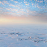 Short winter day in tundra, top view Stock Images