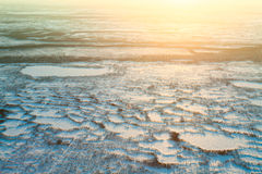 Short winter day in tundra, top view. Aerial view above the endless snow covered tundra in time of short winter day. Small polar trees are illuminated by the low Royalty Free Stock Images