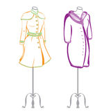 Short women's coat wearing on mannequins made in thumbnail style Stock Photos