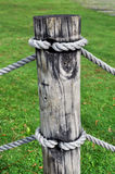 Short wooden pole. A short wooden pole as part of a fence in a garden Stock Images