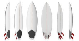 Shortboard blank short surfboard with red fins Royalty Free Stock Image