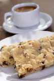 Shortbread. Melt in your mouth delicious pecan and chocolate chip shortbread squares for a snack dessert or coffee break stock image