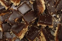 Shortbread. Image of chopped up millionaires caramel shortbread Stock Photo