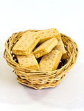 Shortbread in basket. A closeup  of oblong scottish shortcakes in a wicker basket Royalty Free Stock Image