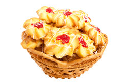 Shortbread. Several Basket with a tasty cookies on a white background Royalty Free Stock Image