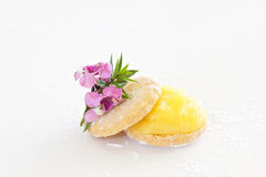 Shortbread biscuit with lemon curd Stock Images