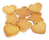 Shortbread biscuits. Some shortbread biscuits with different shapes on a white background Stock Image