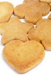 Shortbread biscuits. Some shortbread biscuits with different shapes on a white background Royalty Free Stock Photos