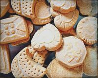 Shortbread biscuits. Sweet biscuits in a tin Royalty Free Stock Image