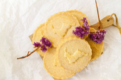 Shortbread biscuits on the white surface Royalty Free Stock Images