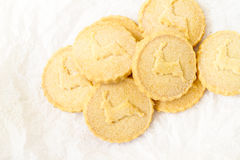 Shortbread biscuits on the white surface Royalty Free Stock Photos