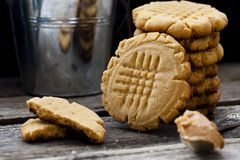 Shortbread cookie with peanut butter Royalty Free Stock Photo