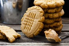Shortbread cookie with peanut butter. On a black background Royalty Free Stock Photos