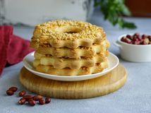 Shortbread cookie with peanuts royalty free stock photography