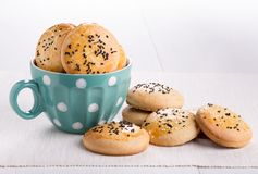 Shortbread cookies black and white sesame seeds. stock photography