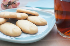 Shortbread cookies on blue plate Royalty Free Stock Images