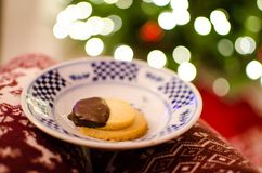 Shortbread cookies with bokeh. Plate of holiday shortbread chocolate dipped cookies with Christmas tree bokeh background Stock Photography