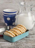 Shortbread cookies with caramel cream and walnuts in vintage metal box and a pitcher of milk Stock Photos
