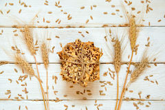 Shortbread cookies with cereals: sesame, seeds and cones. On a w. Hite wooden background. Top view. Cooking concept. Concept of healthy food. Homemade Stock Image