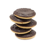 Shortbread cookies with chocolate icing. On a white background Stock Image
