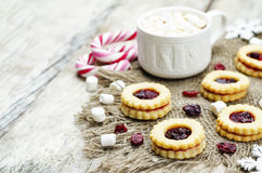 Shortbread cookies with cranberry jam Stock Images