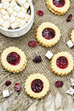 Shortbread cookies with cranberry jam Royalty Free Stock Photo