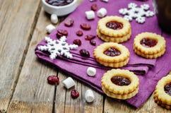Shortbread cookies with cranberry jam Stock Photo