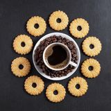 Shortbread cookies and cup of coffee royalty free stock photo