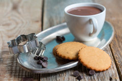 Shortbread cookies and a cup of hot chocolate. Stock Photo