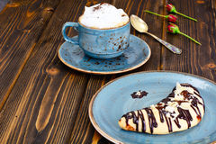 Shortbread Cookies in the Form of the Moon with Coffee Stock Image