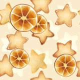 Shortbread Cookies in the form of stars. Sweet pastries. Seamless pattern. orange slices vector illustration