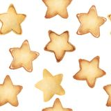 Shortbread Cookies in the form of stars. Sweet pastries. Seamless pattern. tasty. Isolated on white background. royalty free illustration
