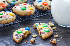 Shortbread cookies with multi-colored candy and chocolate chips on cooling rack Royalty Free Stock Photo