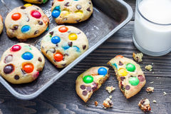 Shortbread cookies with multi-colored candy and chocolate chips on metal tray Royalty Free Stock Photos