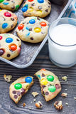 Shortbread cookies with multi-colored candy and chocolate chips on metal tray Stock Photos