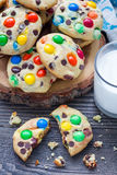 Shortbread cookies with multi-colored candy and chocolate chips, vertical Royalty Free Stock Photography