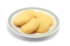 Shortbread cookies on a plate. Six shortbread biscuits/cookies on a plate Stock Images