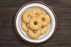 Shortbread cookies in plate stock photos